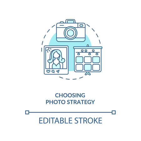 Choosing photo strategy concept icon. Becoming nanoinfluencer tip idea thin line illustration. On-brand photography. Photo-management. Vector isolated outline RGB color drawing. Editable stroke 向量圖像