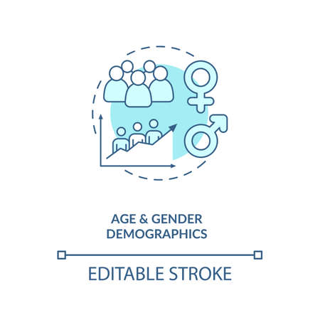 Age and gender demographics concept icon. Social media demographics idea thin line illustration. Target audience on network. Social strategy. Vector isolated outline RGB color drawing. Editable stroke 向量圖像
