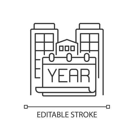 Year built pixel perfect linear icon. Engineering plan for structure. Building time of house. Thin line customizable illustration. Contour symbol. Vector isolated outline drawing. Editable stroke