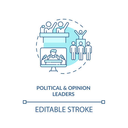 Political and opinion leader concept icon. Influencers type idea thin line illustration. Public opinion. Political organizations. Vector isolated outline RGB color drawing. Editable stroke
