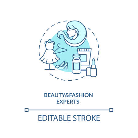 Beauty and fashion experts concept icon. Influencers type idea thin line illustration. Beauty vlog. Easy-to-follow hair, makeup tutorials. Vector isolated outline RGB color drawing. Editable stroke 向量圖像