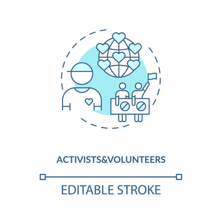 Activists and volunteers concept icon. Influencers type idea thin line illustration. Human rights. Changing and empowering next generation. Vector isolated outline RGB color drawing. Editable stroke 向量圖像