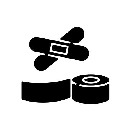 Plasters and medical tape black glyph icon. Sticky wrap for injury treatment. Bandage for trauma. Adhesive strip for damaged patient. Silhouette symbol on white space. Vector isolated illustration 向量圖像