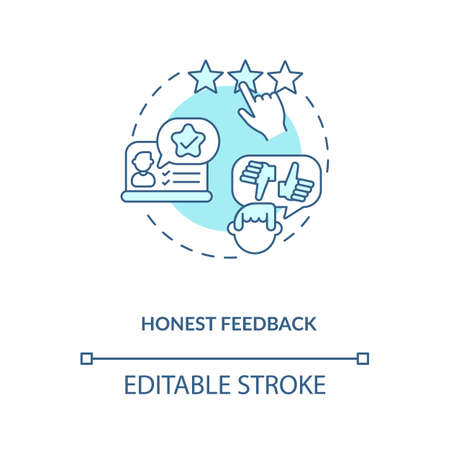 Honest feedback concept icon. Influencer marketing benefit idea thin line illustration. Reviews posting. Experience with brand products. Vector isolated outline RGB color drawing. Editable stroke 矢量图像