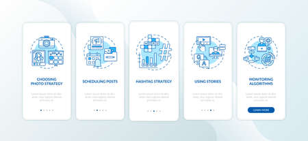 Becoming nanoinfluencer tips onboarding mobile app page screen with concepts. Hashtag strategy, schedule walkthrough 5 steps graphic instructions. UI vector template with RGB color illustrations 向量圖像