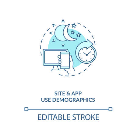 Site and app use demographics concept icon. Social media demographics idea thin line illustration. Consumer adoption statistics. Vector isolated outline RGB color drawing. Editable stroke 向量圖像