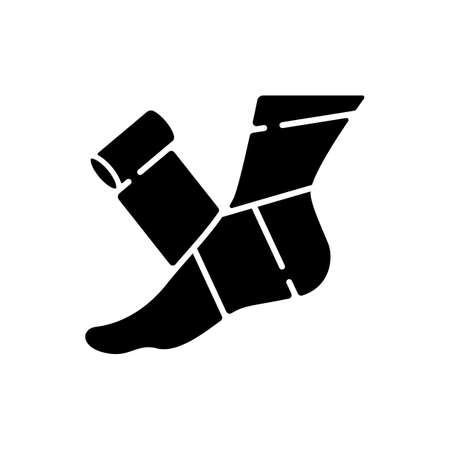 Elastic bandage black glyph icon. Suffer from injury. Hurt foot. Join trauma treatment. Medical equipment to help patient. Health care. Silhouette symbol on white space. Vector isolated illustration