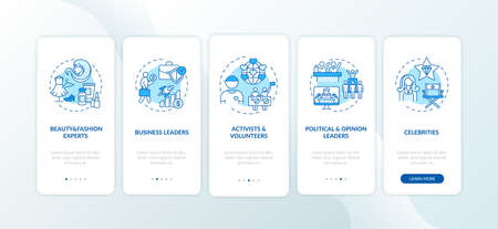 Influencers types onboarding mobile app page screen with concepts. Beauty experts, fashionista, activists walkthrough 5 steps graphic instructions. UI vector template with RGB color illustrations 向量圖像