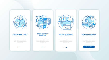 Influencer marketing benefits onboarding mobile app page screen with concepts. Consumers loyalty, feedback walkthrough 4 steps graphic instructions. UI vector template with RGB color illustrations
