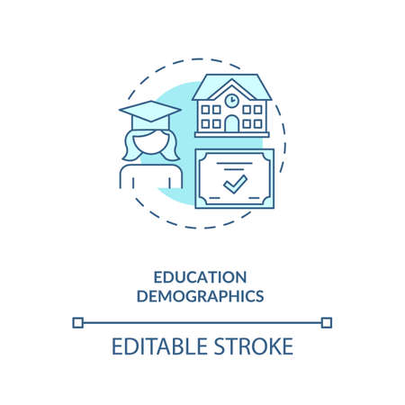 Education demographics concept icon. Educational attainment idea thin line illustration. Social media. Users with college experience. Vector isolated outline RGB color drawing. Editable stroke