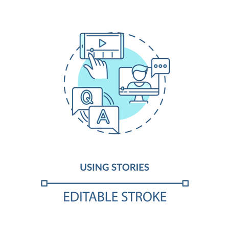 Using stories concept icon. Real-time social storytelling idea thin line illustration. Becoming nanoinfluencer tip. Video marketing. Vector isolated outline RGB color drawing. Editable stroke