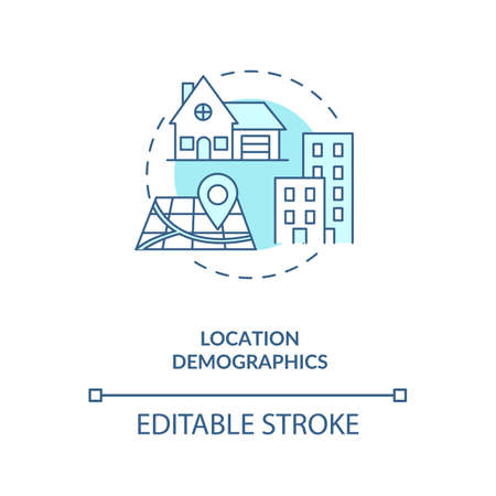 Location demographics concept icon. Social media demographics idea thin line illustration. Mobile devices geographic position. Vector isolated outline RGB color drawing. Editable stroke