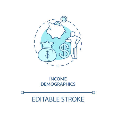 Income demographics concept icon. Social media demographics idea thin line illustration. Social media channels. Making money. Monetization. Vector isolated outline RGB color drawing. Editable stroke