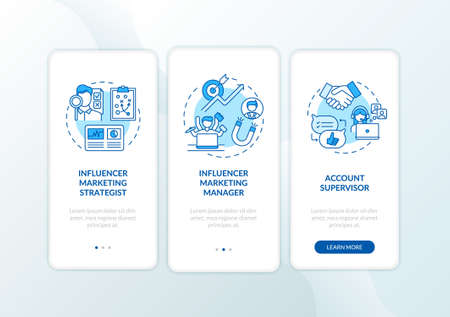Influencer marketing jobs onboarding mobile app page screen with concepts. Marketing strategist, supervisor walkthrough 3 steps graphic instructions. UI vector template with RGB color illustrations 向量圖像