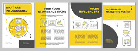 What are influencers brochure template. Influencer marketing agency. Flyer, booklet, leaflet print, cover design with linear icons. Vector layouts for magazines, annual reports, advertising posters