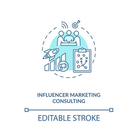 Influencer marketing consulting concept icon. Building personal brand idea thin line illustration. Content analysis. Increasing followers. Vector isolated outline RGB color drawing. Editable stroke