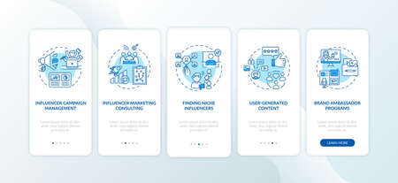 Influencer marketing services onboarding mobile app page screen with concepts. Consulting, niche influencers walkthrough 5 steps graphic instructions. UI vector template with RGB color illustrations