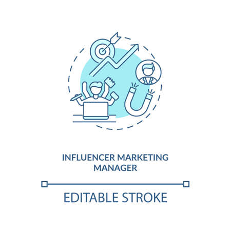 Influencer marketing manager concept icon. Campaign management idea thin line illustration. Coordinating with marketing team. Vector isolated outline RGB color drawing. Editable stroke 向量圖像