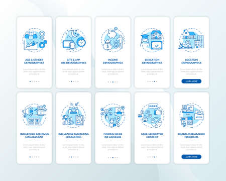 Audience insight onboarding mobile app page screen with concepts set. Influencer marketing services walkthrough 5 steps graphic instructions. UI vector template with RGB color illustrations