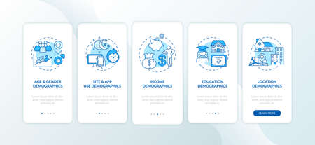 Social media demographics onboarding mobile app page screen with concepts. Education, earnings demographics walkthrough 5 steps graphic instructions. UI vector template with RGB color illustrations 向量圖像