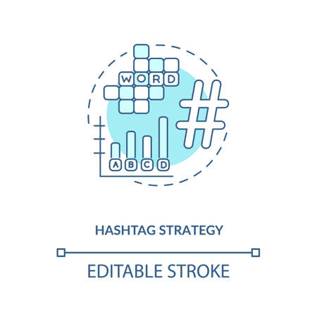 Hashtag strategy concept icon. Becoming nanoinfluencer tip idea thin line illustration. Connection with target audience. Social network. Vector isolated outline RGB color drawing. Editable stroke