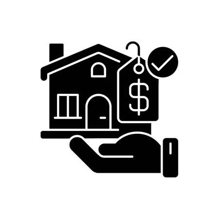 Villa black glyph icon. House for sale. Home with price tag. Mortgage for buying accommodation. Residential property to invest money. Silhouette symbol on white space. Vector isolated illustration
