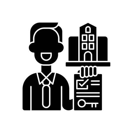 Realtor black glyph icon. Real estate agent. Business contract. Invest money in realty. Residential property for sale. House mortgage. Silhouette symbol on white space. Vector isolated illustration 矢量图像