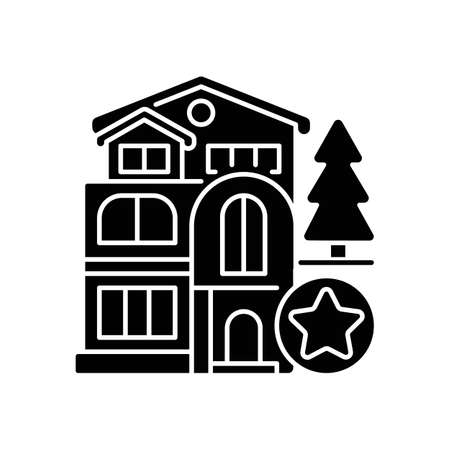 Luxury home black glyph icon. Mansion for living. Villa for dwelling. Premium residential property. Real estate. Hotel complex. Silhouette symbol on white space. Vector isolated illustration