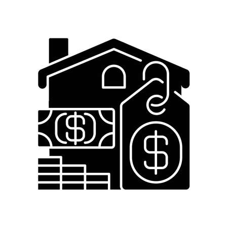 Price black glyph icon. House mortgage. Buying home. Residential property for sale. Invest in realty. Real estate cost. Silhouette symbol on white space. Vector isolated illustration Ilustração