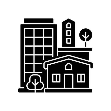 Property type black glyph icon. Office building in downtown. Residential house for dwelling. Highrise in neighborhood. Silhouette symbol on white space. Vector isolated illustration