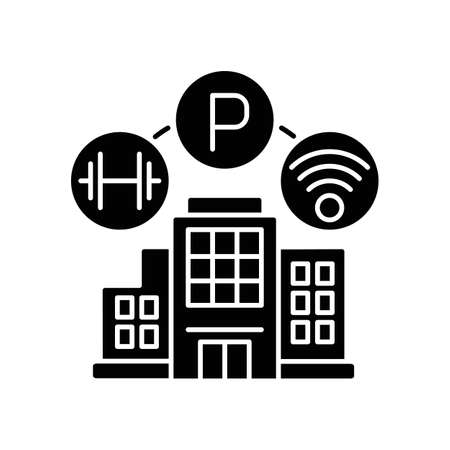 Building amenities black glyph icon. Services in hotel. Wifi spot in apartment. Residential building with parking lot and gym. Silhouette symbol on white space. Vector isolated illustration