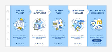 Mortgage loan components onboarding vector template. Principal payment. Homeowner insurance. Property taxes. Responsive mobile website with icons. Webpage walkthrough step screens. RGB color concept Ilustração
