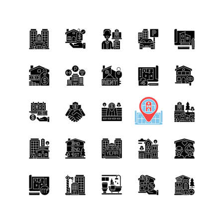Real estate black glyph icons set on white space. Residential property. House mortgage. Home for sale. Suburban neighborhood. Business deal. Silhouette symbols. Vector isolated illustration