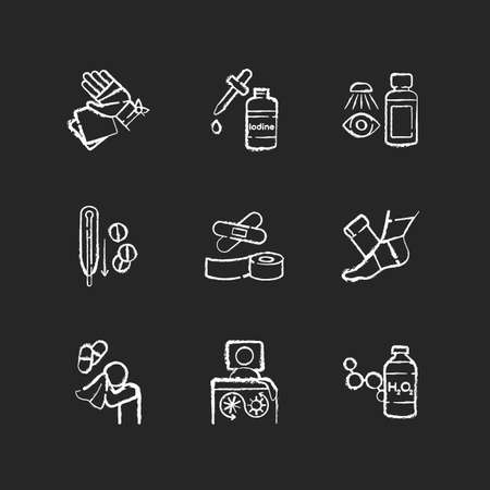 First aid chalk white icons set on black background. Injury treatment. Illness remedy. Medical equipment for hurt patient. Hospital help for injury and trauma. Isolated vector chalkboard illustrations