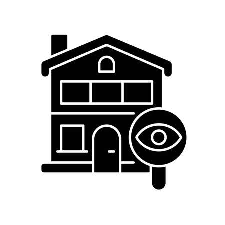 Home tour black glyph icon. Search for housing. Look for home. Residential property. Discover real estate. Potential accommodation. Silhouette symbol on white space. Vector isolated illustration