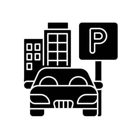 Parking spot black glyph icon. Lot for automobiles near home. Space for car near residential building. Garage area service. Silhouette symbol on white space. Vector isolated illustration