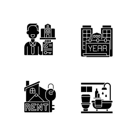 Realtor agency black glyph icons set on white space. Year built. Rental price for home. Bath room in house. Residential accommodation for living. Silhouette symbols. Vector isolated illustration