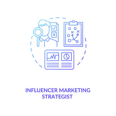 Influencer marketing strategist concept icon. Building strategy idea thin line illustration. Learning media mechanics. Campaign management. Vector isolated outline RGB color drawing 向量圖像