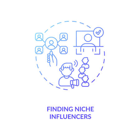 Finding niche influencers concept icon. Influencer marketing agency service idea thin line illustration. Detecting influential bloggers in niche. Vector isolated outline RGB color drawing Ilustração