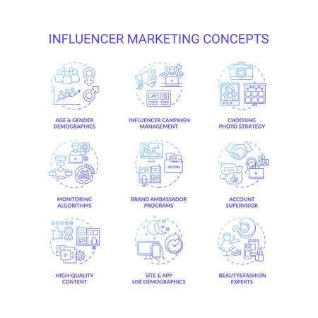 Influencer marketing concept icons set. Campaign management idea thin line RGB color illustrations. High-quality content. Monitoring algorithm. Account supervisor. Vector isolated outline drawings