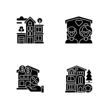 Building types black glyph icons set on white space. Residential property. New house. Nursing home for seniors. Mortgage to buy home. Silhouette symbols. Vector isolated illustration