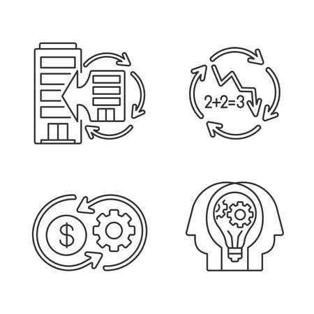 Business synergy linear icons set. Corporate expansion. Company merge. Decline in numbers. Customizable thin line contour symbols. Isolated vector outline illustrations. Editable stroke