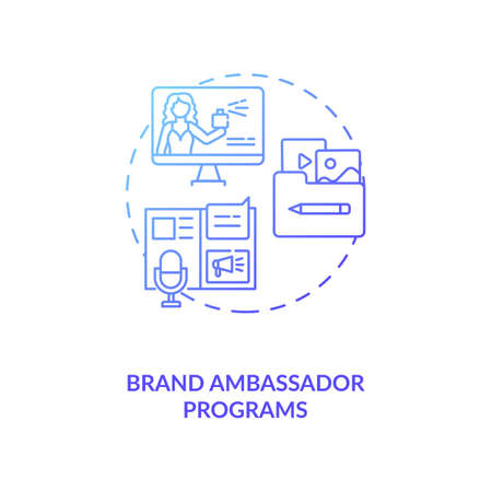 Brand ambassador programs concept icon. Influencer marketing agency service idea thin line illustration. Product and brand representation. Advertising tool. Vector isolated outline RGB color drawing Ilustração