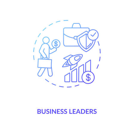 Business leaders concept icon. Influencers type idea thin line illustration. Inspiration gaining. Small business marketing and financing. Industry news. Vector isolated outline RGB color drawing Ilustração