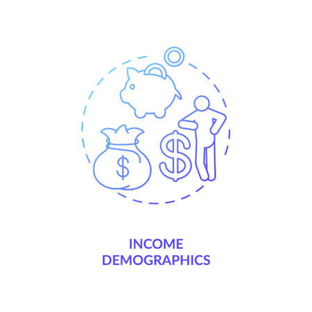 Income demographics concept icon. Social media demographics idea thin line illustration. Affiliate income. Brand promotion. Earnings. Monetization. Vector isolated outline RGB color drawing