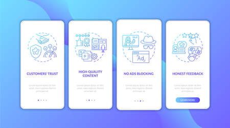 Influencer marketing benefits onboarding mobile app page screen with concepts. No ads blocking, reviewing walkthrough 4 steps graphic instructions. UI vector template with RGB color illustrations