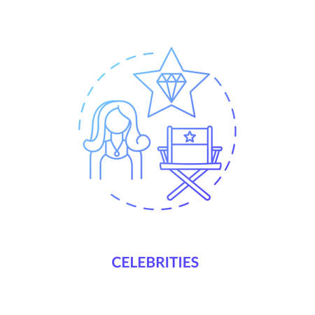 Celebrities concept icon. Influencers type idea thin line illustration. Creating awareness about brand. Role models. Influence on body image and substance. Vector isolated outline RGB color drawing