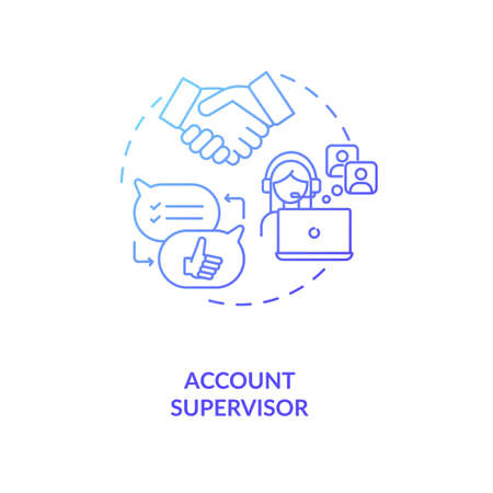 Account supervisor concept icon. Account management idea thin line illustration. Motivating, coaching, providing feedback. Identifying new content creators. Vector isolated outline RGB color drawing Çizim
