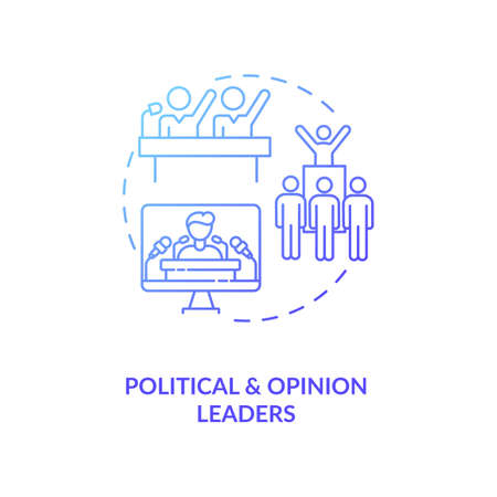 Political and opinion leader concept icon. Influencers type idea thin line illustration. Electoral politics. Thought leaders. Political organizations. Vector isolated outline RGB color drawing