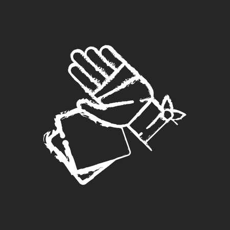 Gauze bandages and pads chalk white icon on black background. Adhesive wrap for hand injury. Joint trauma aid. Damaged wrist hospital treatment. Isolated vector chalkboard illustration
